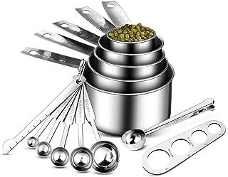 Uarter Cuillères et Tasses à Mesurer en Acier Inoxydable 13 Pcs - 5 Tasses à Mesure, 5 Cuillères Doseuses, 1 Scoop avec Cl...