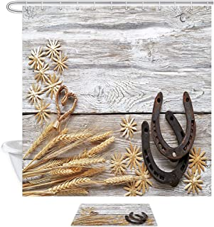 Western Farm House Barn Door Shower Curtain, Wheat Ears Straw Stars with Horseshoes on Rustic Wooden,Polyester Fabric Shower Curtain Set 15.7x23.6in Flannel Non-Slip Floor Doormat Bath Rugs,69X70in