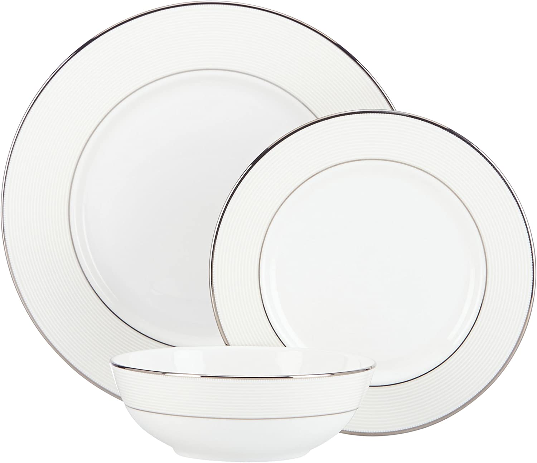 Lenox Opal Innocence Stripe 3-Piece Place Setting, White