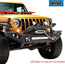 EAG Heavy Duty LED Front Bumper with Winch Mount Plate and D-Ring Shackle Fit for 18-19 Jeep Wrangler JL