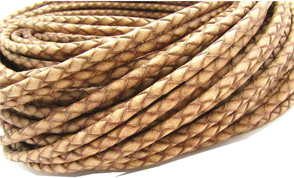 5.0mm Round Folded Genuine Leather Cords for Bracelet Necklace Jewelry Making (Natural, 5 Meters)