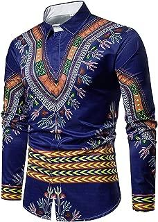 Mens Dashiki Button Down Slim Fit African Ethnic Printed Long Sleeve Dress Shirt