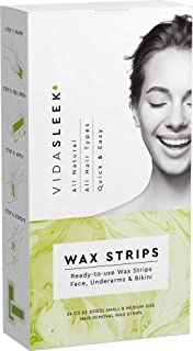 Hair Removal Wax Strips Face, Underarms & Bikini, 24 Count