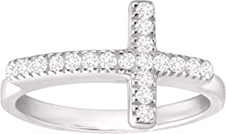 Reverence' Horizontal Cross Ring with 1/5 ct Cubic Zirconia in Sterling Silver