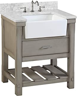 Charlotte 30-inch Bathroom Vanity (Carrara/Weathered Gray): Includes a Carrara Marble Countertop, Weathered Gray Cabinet with Soft Close Drawers, and White Ceramic Farmhouse Apron Sink