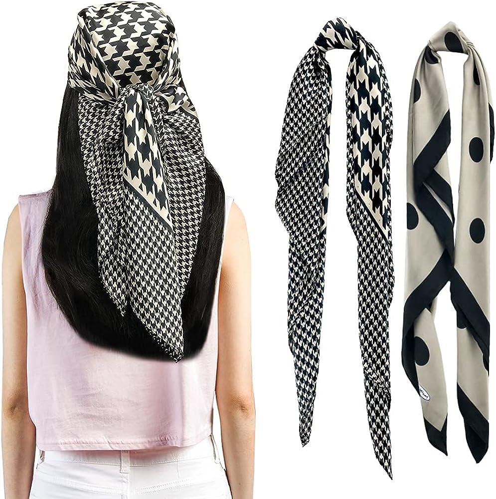 FINIZO Large Square Head Scarves - 2PCS Silk Like Neck Scarf Hair Sleeping Wraps Silk Scarfs for Women
