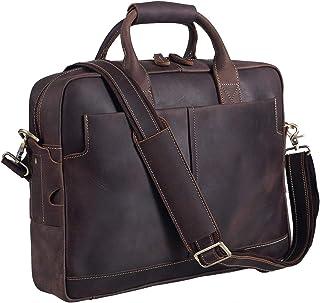 Texbo Genuine Full Grain Leather Men's 16 Inch Laptop Briefcase Messenger Bag Tote Satchel Bag with YKK Metal Zippers (Update Version)