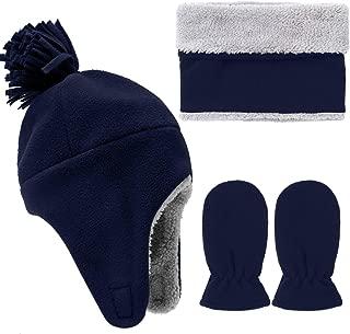 Toddler Baby Winter Set Totally Micro Fleece Pilot Hat Mitten Scarf Set