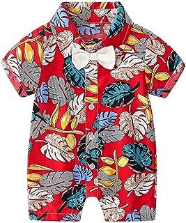 Baby Cute Hawaii Onesies Newborn Button-Down Casual Print Shirt Romper Outfits