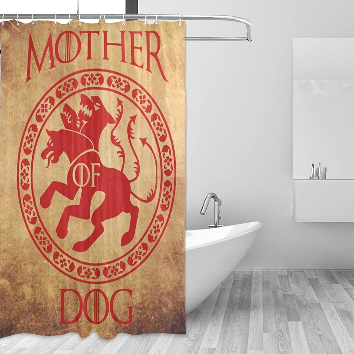 Mother Of Dog Waterproof Polyester Bathroom Shower Curtain Set for Home Decor with Hooks,60W X 72L Inches hxgusrxmhnk627