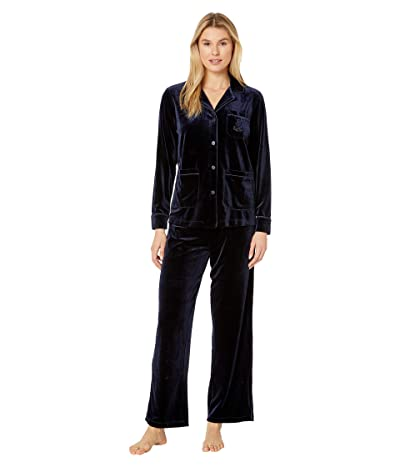 LAUREN Ralph Lauren Velvet Long Sleeve Notch Collar Three-Pocket Long Pants Pajama Set (Navy) Women