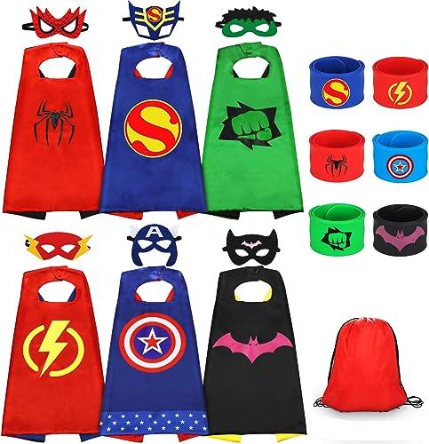 Jojoin Capes de Super-héros pour Enfants, 6PCS Jouets de Super Heros Costumes avec 6 Masques de Super-héros, 6 Slap B...