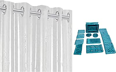 Kuber Industries Jewellery Kit/Make Up Kit/Box with 12 Pouches in Heavy Quilted Satin & PVC 1 Piece Eyelet 30 Mm Ac Curtain 7 Feet (Transparent)(54X84 Inch)- CTKTC5670 Combo