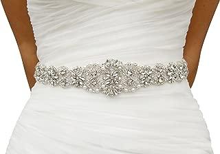 Lovful Womens Crystal Rhinestone Braided Wedding Dress Sash Belt, Beige Sash