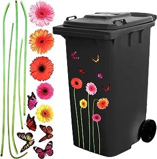 Autocollant Auto-Adhésif Fleur et Papillon Sticker Autocollant Wheelie Bin Décoratif pour la Décoration de la Maison