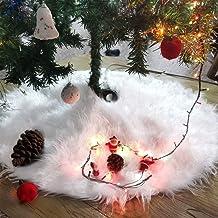 Yuccer 30 Inches Christmas Tree Skirt Snowy White Plush Xmas Tree Skirt for Merry Christmas Party Faux Fur Christmas Tree ...