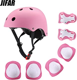 JIFAR Youth Kids Bike Helmet for Ages 3-14, Adjustable Toddler Protective Gear with Elbow Knee Wrist Pads for Skateboarding Bicycling Hiking, S Size for Girls Boys Helmet Black Pink Blue