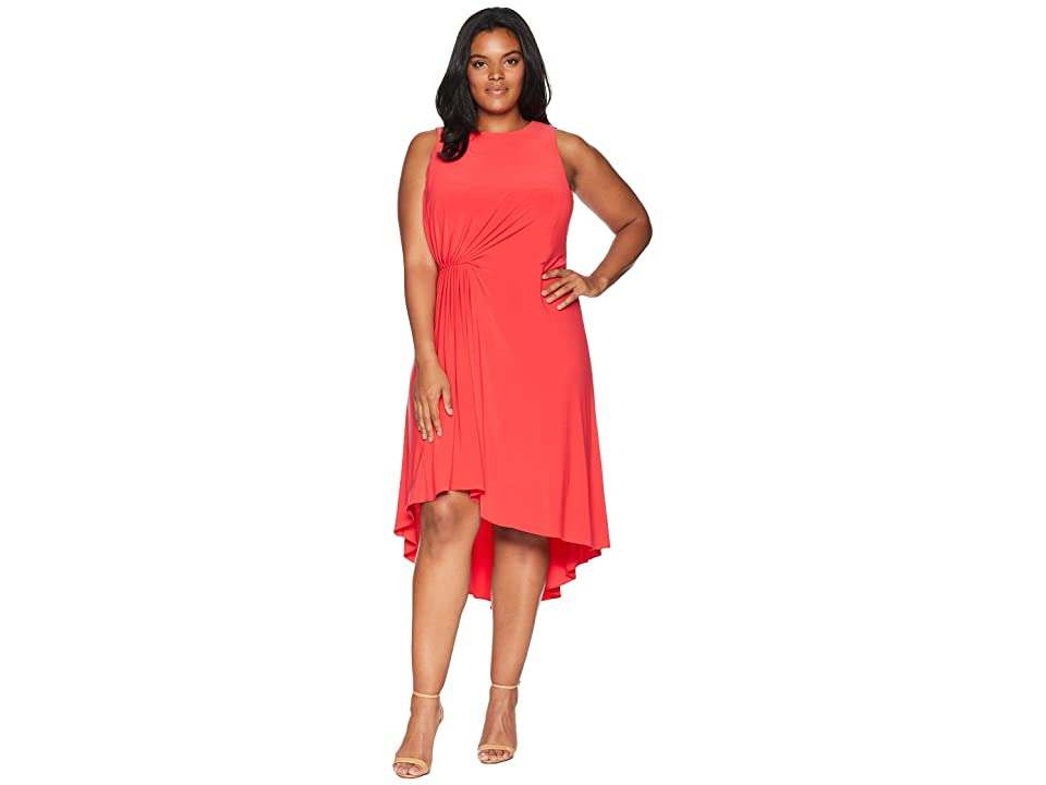Adrianna Papell Plus Size Matte Jersey Fit and Flare (Geranium) Women