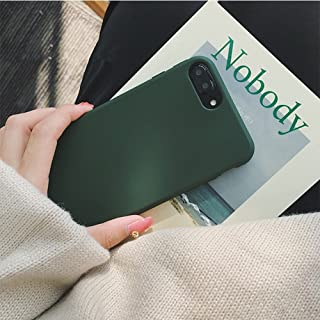 YonMeet Retro Case for iPhone X 8 7 7plus Soft pro-TPU Cover for iPhone6 6Plus 6s 6sPlus Fashion Style Flexible Rubbery Slim Cover (iPhone 7 Plus/8 Plus, Forest Green)