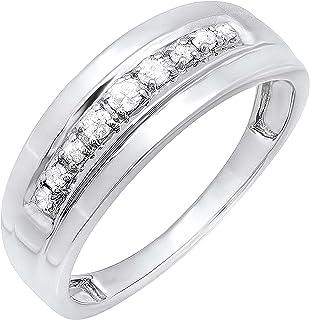 مجموعه Dazzlingrock 0.23 قیراط (ctw) حلقه عروسی سالگرد عروسی واقعی الماس واقعی 1/4 CT ، استرلینگ نقره