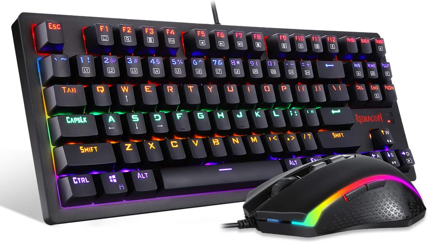 Redragon S113 Gaming Keyboard Mouse Combo Wired Mechanical LED RGB Rainbow Keyboard Backlit with Brown Switches and RGB Gaming Mouse 4200 DPI for Windows PC Gamers (Renewed)