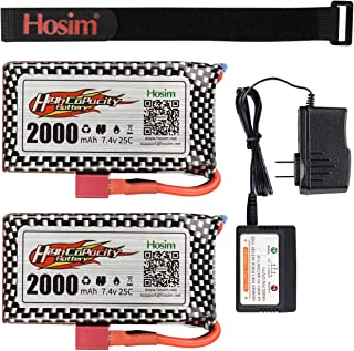 Hosim RC Cars Replacement Battery, 2 Packs 7.4V 2000mAh Li-Po Rechargeable Battery & 1 Pack 2S Lipo Balance Charger 9125 Truggy Trucks Accessory Supplies with Deans Plug for RC Car Boat Truck