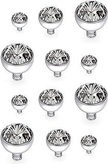 Gadeaila 14G Dermal Piercing Jewelry Tops Base Titanium Dermals Anchor Tops Piercing for Women Men Opal CZ Turquoise Flat ...