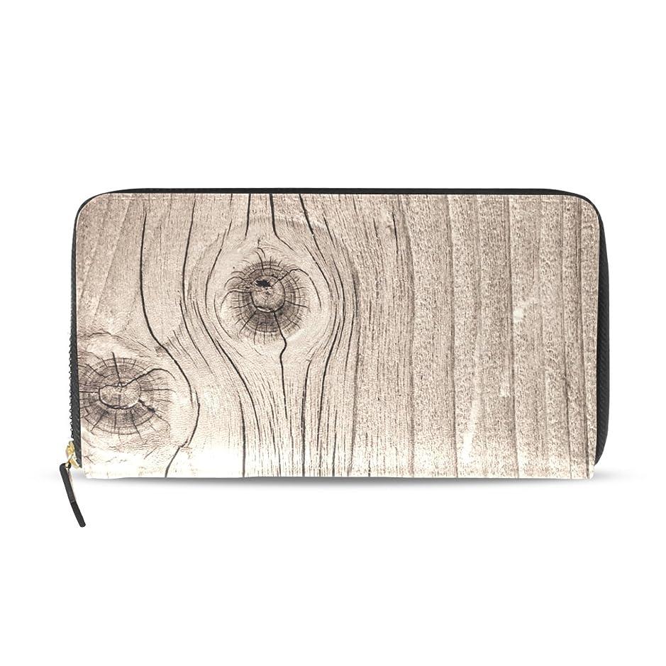 韓国教義たまにマキク(MAKIKU) 長財布 レディース 大容量 革 レザー ラウンドファスナー おしゃれ カード12枚収納 プレゼント対応 木柄 レトロ おもしろ