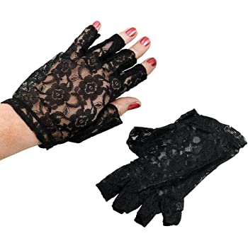 Ladies Fingerless Black Lace Gloves Fancy Dress Party Accessory 80s Eighties New