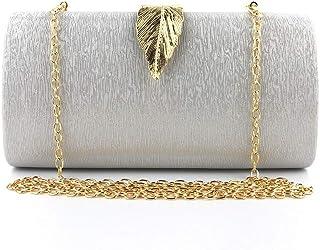 JUNfenghe Women's Solid Color Leaf Dinner Bag Dress Hand Strap Shoulder Bag Evening Bag Bride Handbag Square Hand Hold Size:20.5 * 4.5 * 10.5cm (Color : Silver)