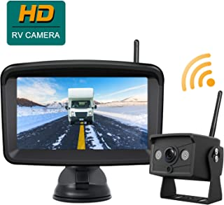 Digital Wireless Backup Camera with Monitor Stable Signal Reversing Camera Backing Up with 5 Monitor, Night Vision Waterproof Rear View IR Camera and Monitor Kit be Used for Pickup/Truck/Trailer/RV
