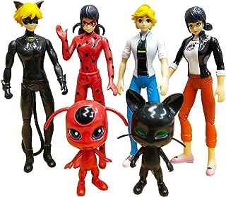 Vitadan 6pcs Ladybug Action Figure - Ladybug and cat Noir Miraculous Action Figures - Miraculous Ladybug Toy Set Minifigures - Ladybug Tikki Dolls 6 Set – Miraculous Toys