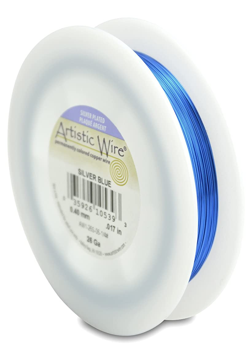 Artistic Wire 26-Gauge Silver Plated Silver Blue Wire, 1/4-Pound