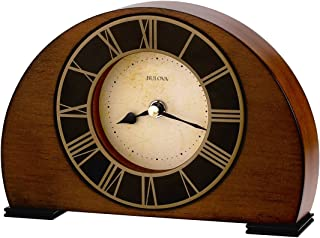 Bulova B7340 Tremont Beige Dial Antique Walnut Hardwood Desk Clock