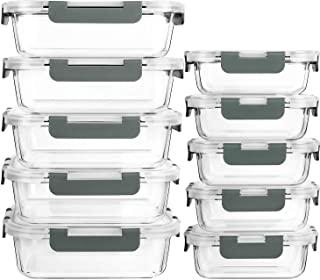 MCIRCO Recipient en Verre,Boîtes Alimentaires en Verre Lot de 10 1040ML+370 ML, Anti-Odeur, Sans BPA, pour four, micro-ond...