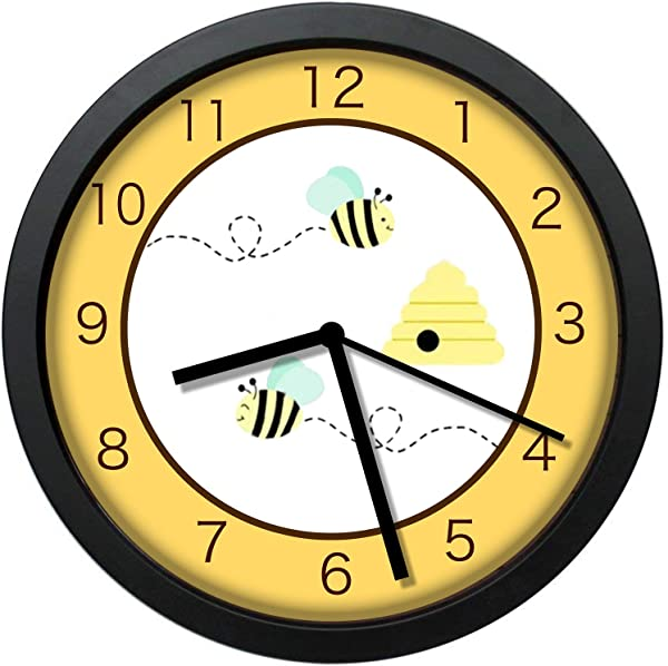YiiHaanBuy Bumble Bee Yellow Unique Decorative 12in Wall Clock