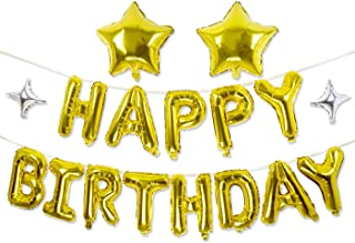 Happy Birthday Balloons, GoldenSunny Foil Balloon Letters Mylar Balloons and Star Foil Balloons for Birthday Party Decorations and Supplies, Gold