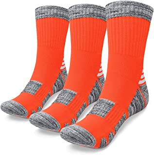 SWOLF Men's Hiking Socks, Wicking Quarter Socks Women with Cushion - Performance Cotton Anti Blister Crew Trekking Sock