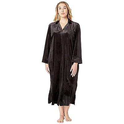 LAUREN Ralph Lauren Plus Size Velvet Long Sleeve Notch Collar Zip Front Caftan (Black) Women