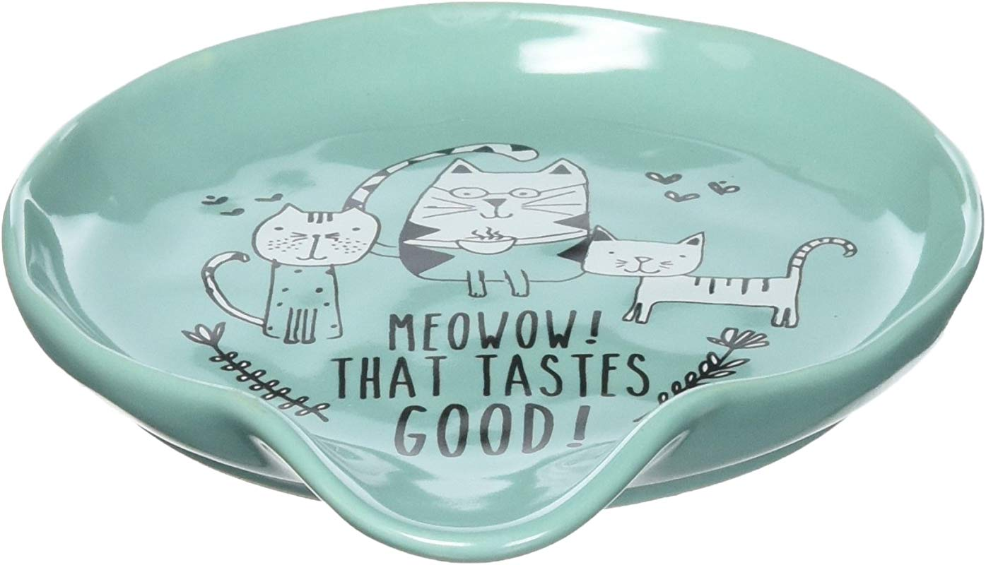 Pavilion Gift Company It S Cats Dogs Meowow That Tastes Good Teal Ceramic Cat Spoon Rest Small Teal