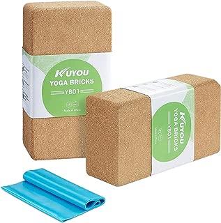 Cork Yoga Block 2 Pack Plus Strap Cork Yoga Bricks Natural Eco-Friendly 9