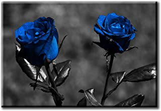 Wall Art Printed Canvas Tableau, blue flowers 90x60cm, Framed Living Room Wall Art for Home Decor