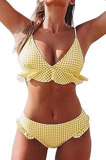 CUPSHE Women's Rambling Rose High-Waisted Push Up Bikini Set
