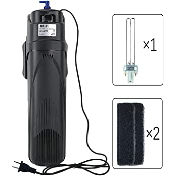 Coospider Sun JUP-01 Aquariums in Tank UV Submersible Filter Machine 211gph 9 Watt fit for 80Gallon (JUP 01 Set + 2X Replace Filter + 1x Spare UV Bulb)