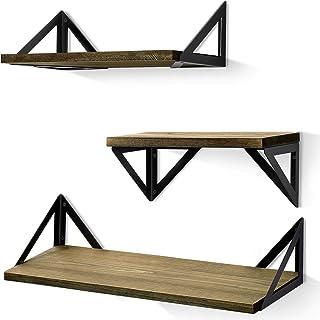 BAYKA Floating Shelves Wall Mounted, Rustic Wood Wall Shelves Set of 3 for Bedroom,..