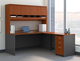 Bush Business Furniture Series C 72W L Shaped Desk with Hutch and Mobile File Cabinet in Auburn Maple