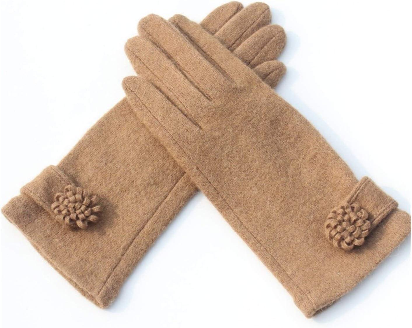 JBIVWW Fashion Elegant Female Knit Touch Screen Gloves Winter Women Keep Warm (Color : B Khaki)