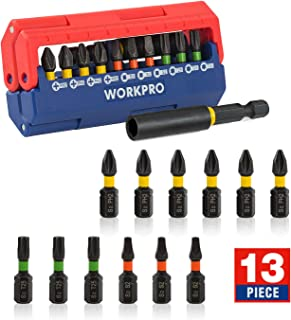 WORKPRO 13-Piece Impact Screwdriver Bit Set, Magnetic Extension Bit Holder with Pressed Magnetic Case