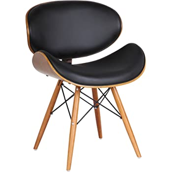 Armen Living  Cassie Dining Chair in Black Faux Leather and Walnut Wood Finish