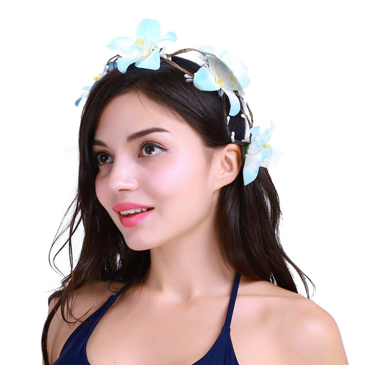 TiaoBug Women Girls Handmade Flower Headband Hair Wreath Crown with Adjustable Ribbon for Wedding Festivals Blue One Size